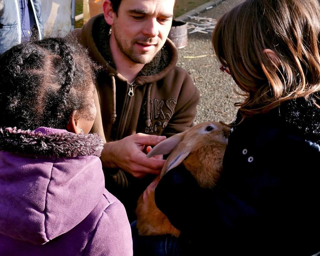 Grâce à un prêt de la ferme en coton, les enfants de l'école Marianne découvrent les animaux domestiques