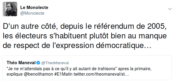 Tweet qui ironise sur le sentiment de trahison de Hamon à la lumière de la trahison continue des électeurs