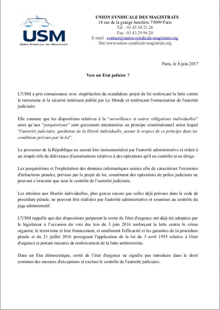 Lettte de l'Union Syndicale des Magistrats au sujet de la pérénisation des mesures extralégales de l'État d'urgence