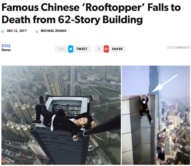 Article sur la mort d'un rooftopper