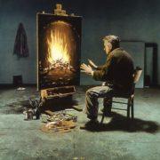 Artiste pauvre se chauffant les mains devant la toile d'une cheminée
