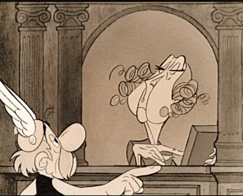 Astérix devant une guichetière de la maison qui rend fou dans les 12 travaux d'Astérix