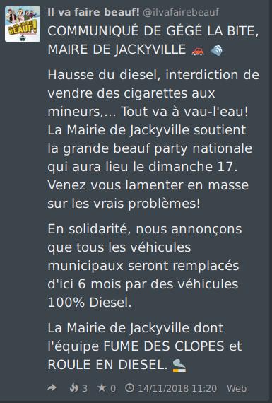 Message de Mastodon désignant les manifestants du 17 novembree comme de gros beaufs
