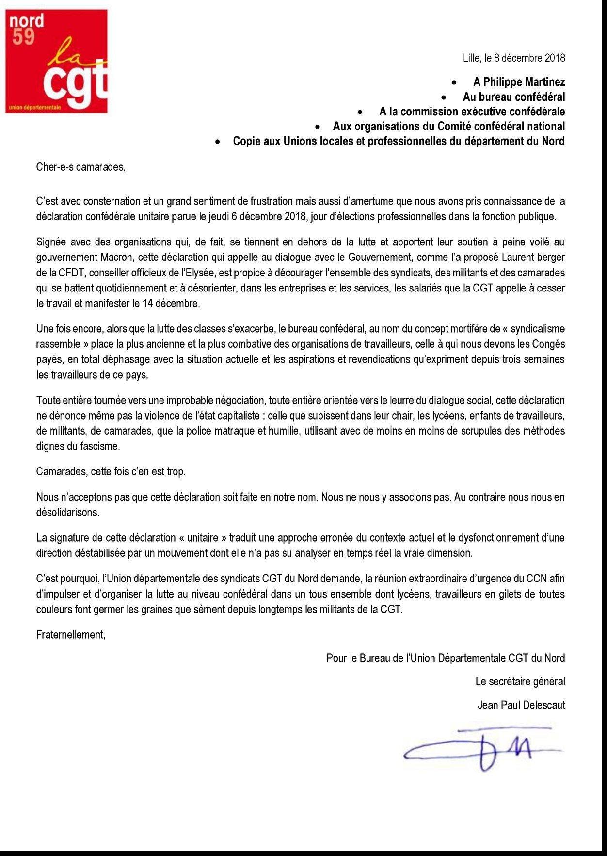 Courrier de l'union départementale CGT 59 au sujet de la déclaration confédérale du 6 décembre 2018
