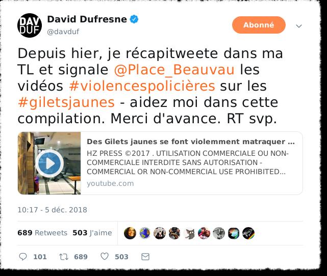 Tweet Allo place Beauvau pour dénoncer les violences policières