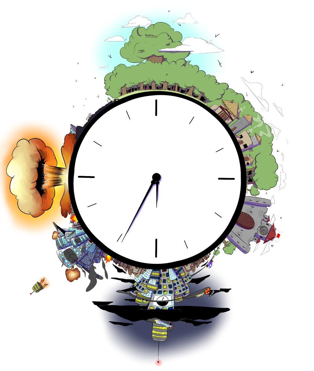 Une horloge qui figure les étape de l'anthropocène jusqu'à l'effondrement final.