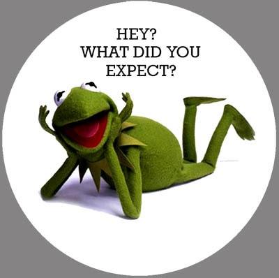 Kermit la grenouille avec message en anglais: «Hé, vous vous attendiez à quoi», parodie du slogan de la publicité Schweppes