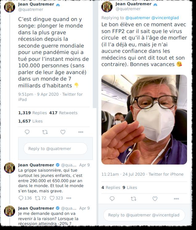 Tweet de Jean Quatremer sur le confinement et le décés des personnes âgées