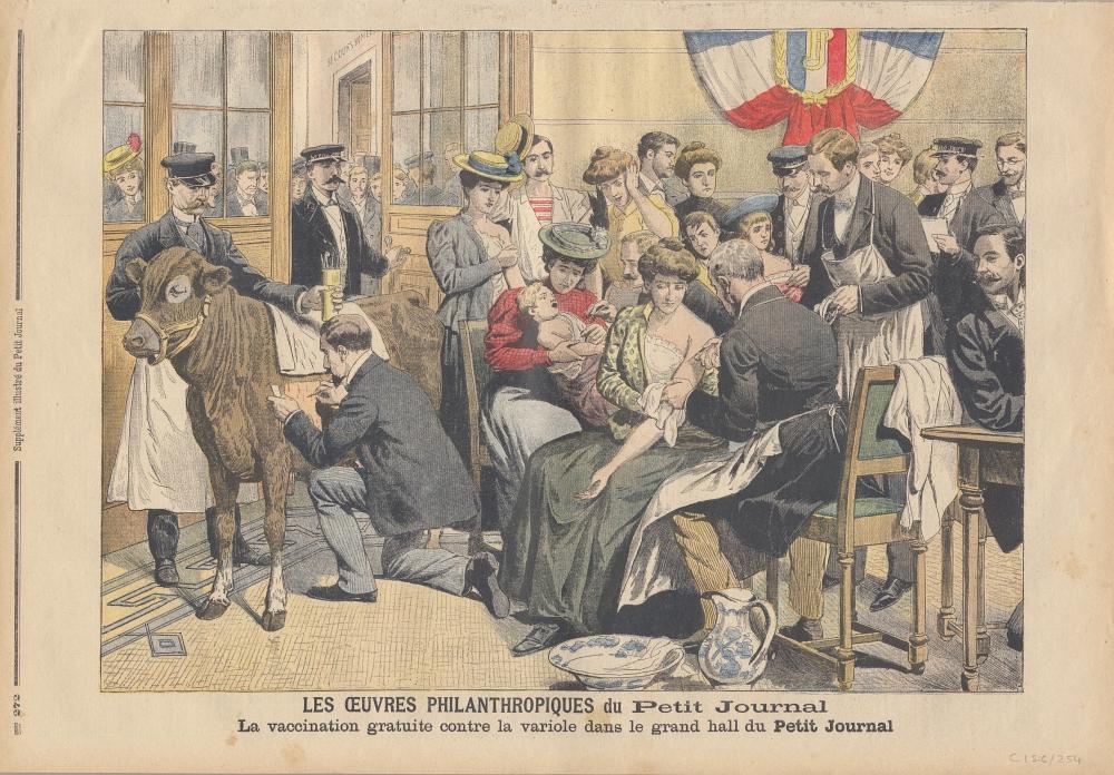 La vaccination gratuite contre la variole dans le grand hall du Petit Journal, 1905