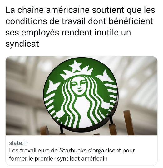Les travailleurs de Starbucks s'organisent pour former le premier syndicat américain  La chaîne américaine soutient que les conditions de travail dont bénéficient ses employés rendent inutile un syndicat.